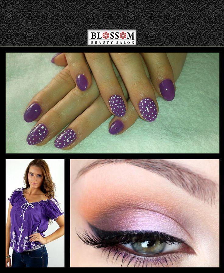 Un model de unghii office&casual Dacă îți plac modelele de unghii mai simple polka dots poate fi o alege inspirată. Movul este o culoare ce se face ușor remarcată punând în valoare unghiile. În plus, această culoare face un bun parteneriat cu griul, prin urmare poate fi ușor purtată alături de ținuta de birou. http://blossom-salon.ro/infrumusetare/manichiura-pedichiura/  https://www.facebook.com/blossom.salon/photos/p.766578413431368/766578413431368/?type=1