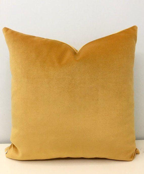 Mustard Cotton Velvet Pillow Cover Pillows Decorative Cushions Mu