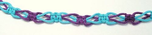 2 color switch knot sennit-I made this in all hematite cord (C-Lon 400) it has a lace like look and looks classy when done this way.
