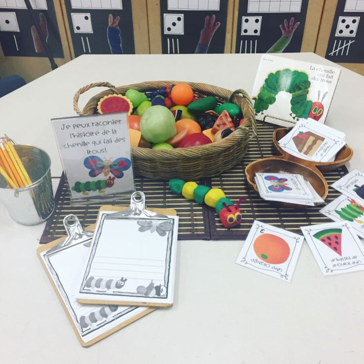 "46 Likes, 3 Comments - Laura King (@kindergartenteachertired) on Instagram: ""La chenille qui fait des trous The Very Hungry Caterpillar 🍎🍐🍇🍓🍊🍭🍰🍦🐛 We have been reading through…"""