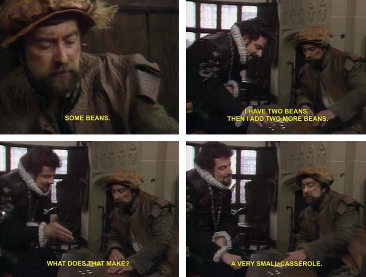 Blackadder is attempting to teach Baldrick how to add up and it isn't going well...