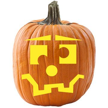 A goofy grin and crossed eyes make this pumpkin stencil a real hoot./
