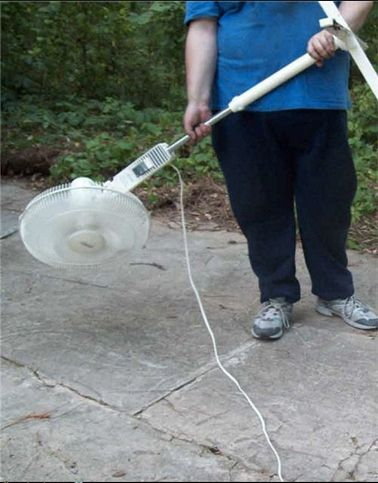 Fan Leaf Blower - not as silly as it looks,  would work better in garage than blower as not as strong - so rubbish wont go up then down on top of everything -  gonna try it