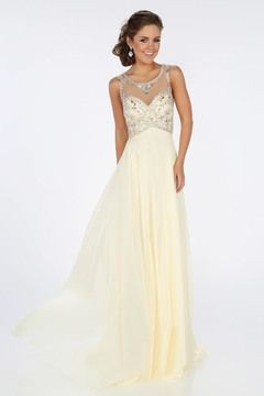 2016 Scoop A Line Prom Dresses With Beading Floor Length Chiffon US$ 179.99 BPP2TZF48C - BrandPromDresses.com