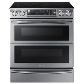 Samsung Flex Duo 30-in Smooth Surface 5-Burner 3.3-cu ft/2.4-cu ft Self-Cleaning Double Oven Convection Electric Range (Stainless Steel)