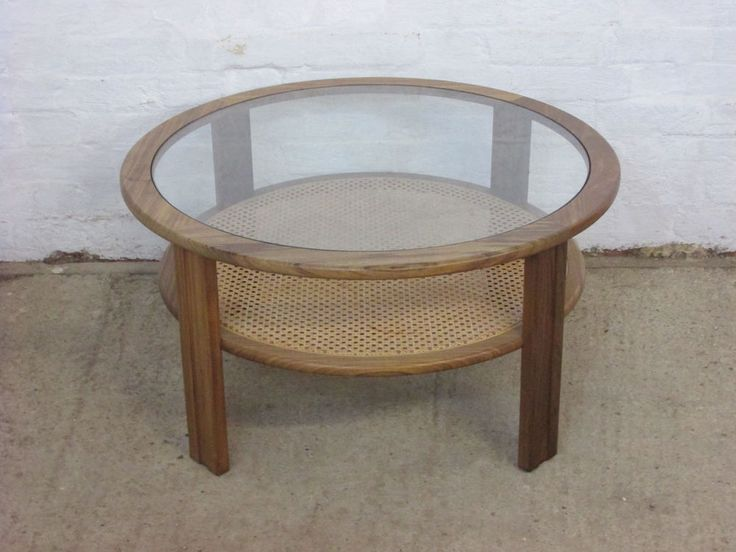 G Plan Teak Round Glass Topped Coffee Table with Cane or Wicker Lower Tier