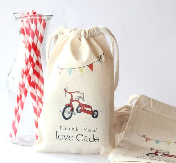 RED TRICYCLE  Custom Favor Bags  Set of 10  by foryourlittlemonkey, $18.00