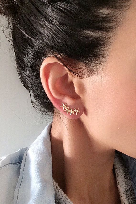 18k Gold Plated Ear Cuff - SOLD INDIVIDUALLY - ONLY REQUIRES ONE STANDARD EAR PIERCING ! NICKEL FREE Starfish shape ear pin of special design , It