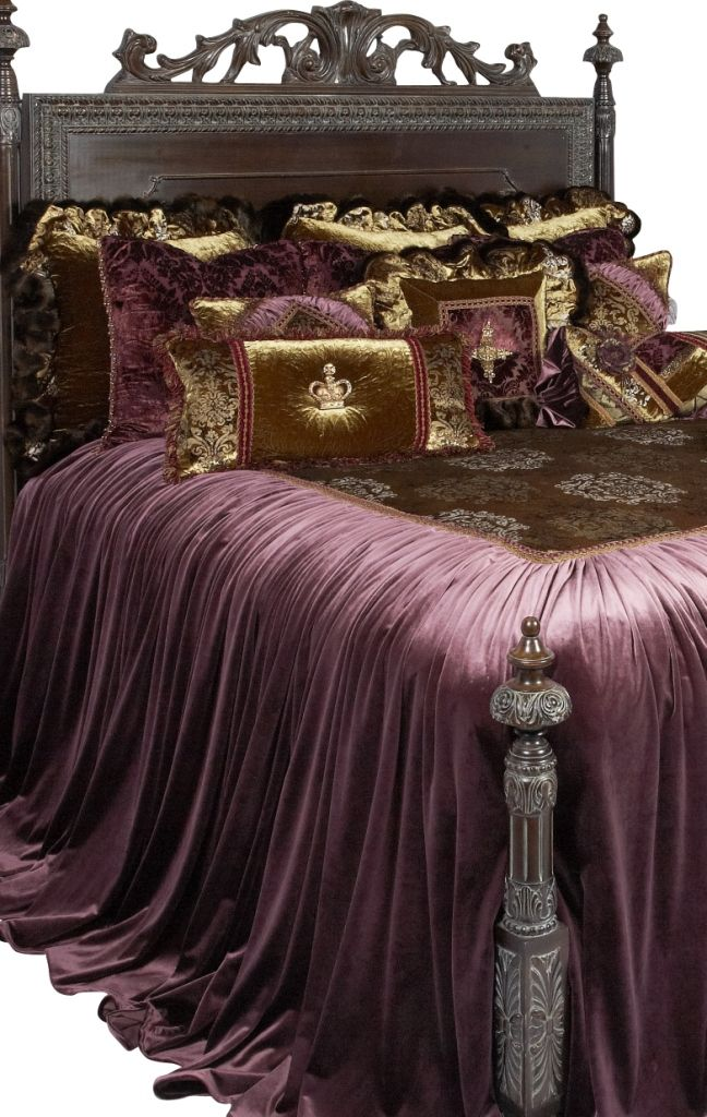 Guinevere Luxury Bedding Collection is luxurious eggplant velvet mixed with a lightweight velvet classic print in olive greens, silvers, & gold. The pillows combine all these velvet with a stunning brocade velvet sheer trimmed with ruched braid, brush fringe, beading, scalloped braids and a crown and cross that are covered in Swarovski crystals.   Our over sized bedding is designed to fit the larger beds of today with ample drop on both the duvet and the dust skirt.