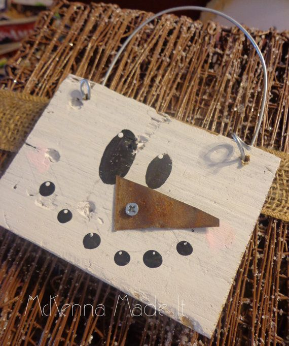 Pallet Wood Snowman Ornament/Gift Tag! Each ornament measures approx. 4x3 not including hanger and are 3/4 thick. This is the perfect size to