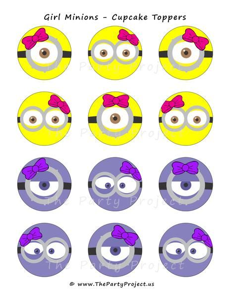 INSTANT DOWNLOAD - Girl Minion cupcake picks to throw an incredible Pink Despicable Me party!