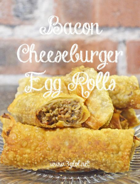 Bacon Cheeseburger Egg Rolls   -   Made with ground beef, velveeta cheese and bacon.
