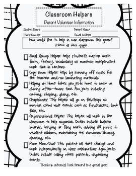 $0 Classroom Volunteer Form for Parents