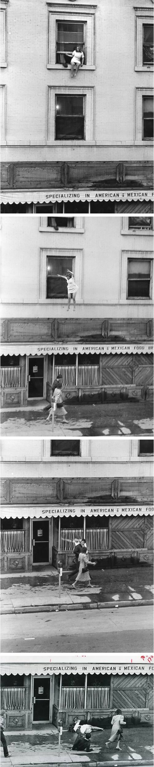 A series of photos of a woman committing suicide by jumping out her window. The photographer and date is unknown.