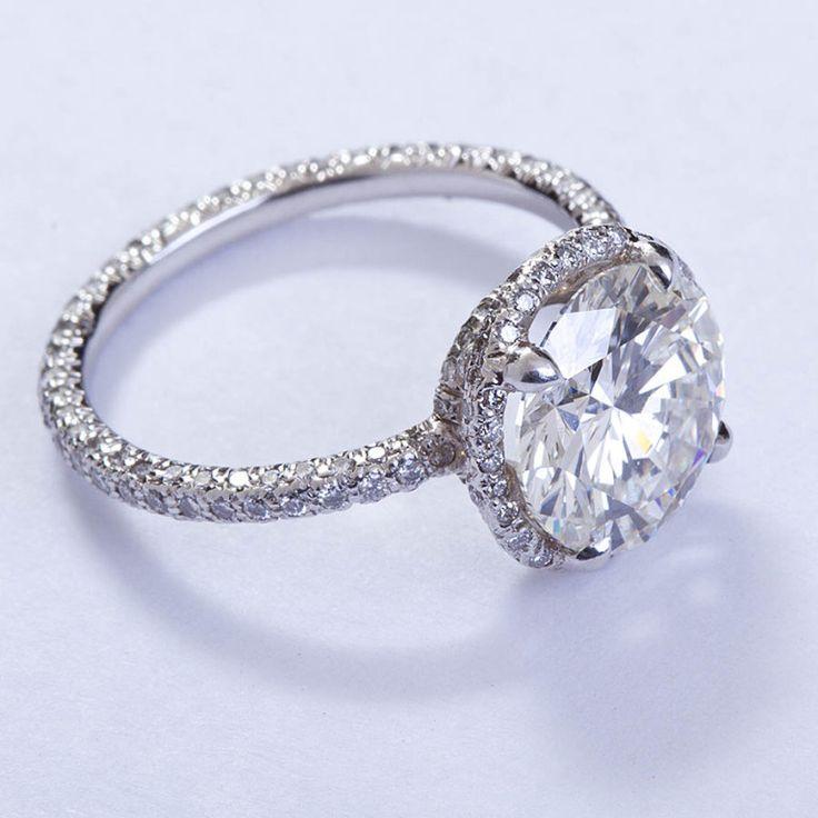 FRED LEIGHTON Micro Pave 3 carat Diamond Solitare