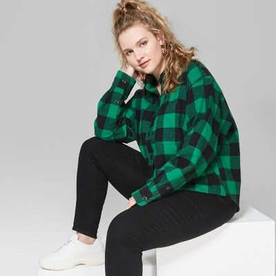 0f96ed72c5722 Women s Plus Size Long Sleeve Cropped Plaid Button-Down - Wild Fable   Forest Green 4X  Sleeve