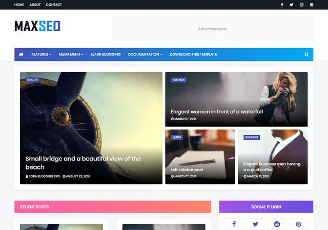 Maxseo Responsive Blogger Templates Download In 2020 Free Blogger Templates Blogger Templates Responsive Blogger Template