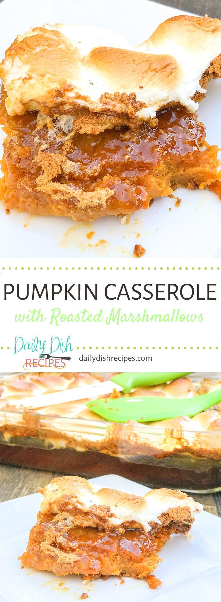 Pumpkin Casserole with Roasted Marshmallows #pumpk…