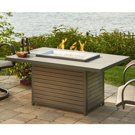 This Brooks Gas Fire Pit Table Has A Grey Composite Deck Top And Graphite  Grey Powder Coated Aluminum Framing With A 12 X 24 In Stainless Steel  Burner.