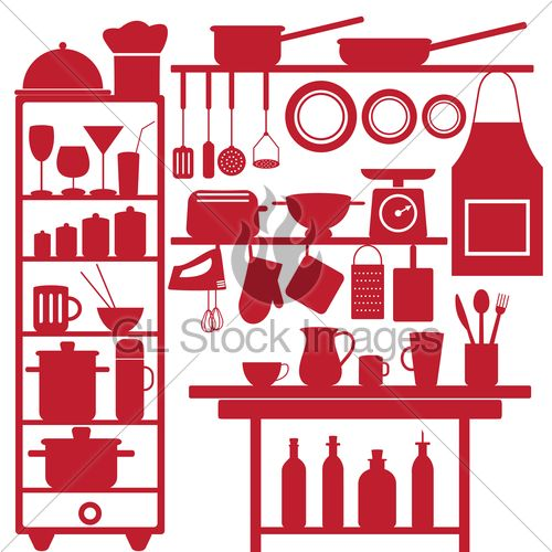 Various Isolated Restaurant And Kitchen Related Symbols