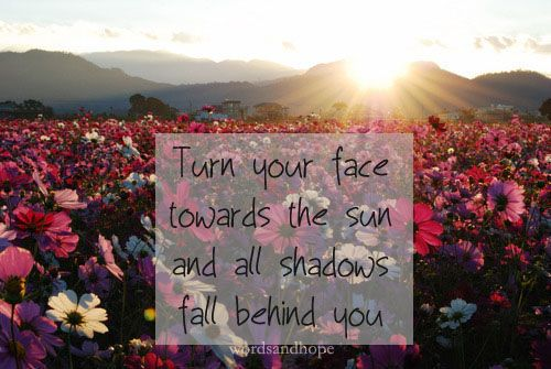 Turn your face towards the sun and all shadows fall behind you.