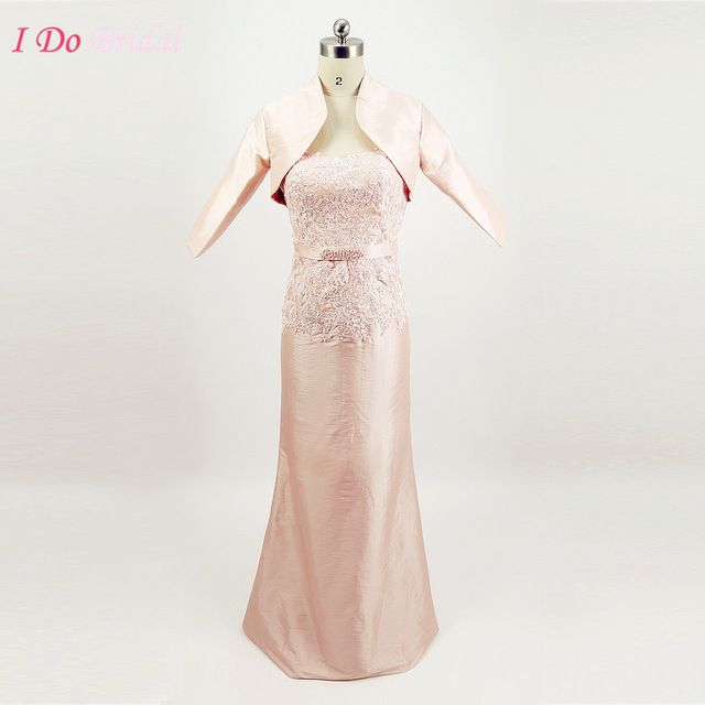 Pink Formal Long Mother of the Bride Pant Suits Godmother Dresses Lace Groom Gowns With Jacket Taffeta Pearls G75