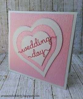 Ευχητήρια κάρτα γάμου με καρδιές σε άσπρο του πάγου και ροζ!