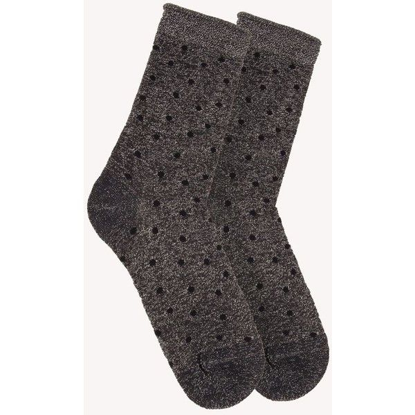 mp Denmark Ankle Swan Sock (61 DKK) ❤ liked on Polyvore featuring intimates, hosiery, socks, grey glitter, polka dot socks, ankle high socks, ankle high hosiery, gray socks and dot socks
