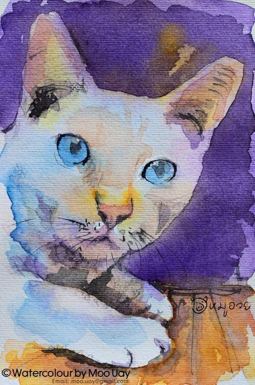 ภาพแมวภาพนี้วาดลงกระดาษโปสต์การ์ดส่งให้เพื่อน เป็นภาพที่ชอบอีกภาพ ดีนะที่ได้ถ่ายภาพเก็บไว้ เอาไว้ดูยามคิดถึง