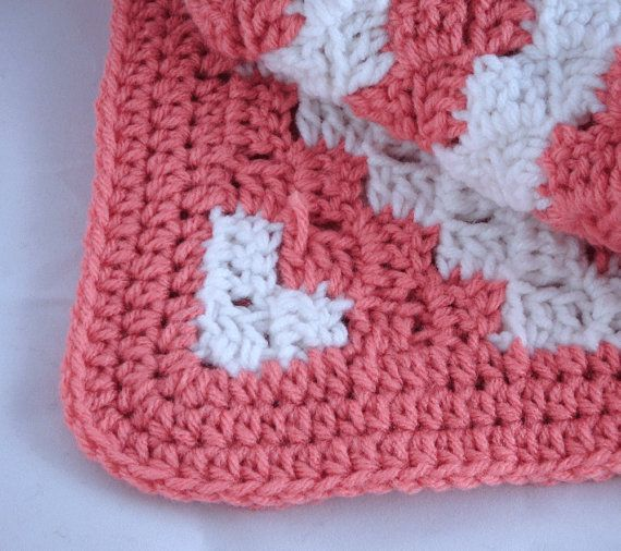 Clearance Pink White Diagonal Crochet Baby Blanket Crochet Baby Crochet Baby Blanket Crochet
