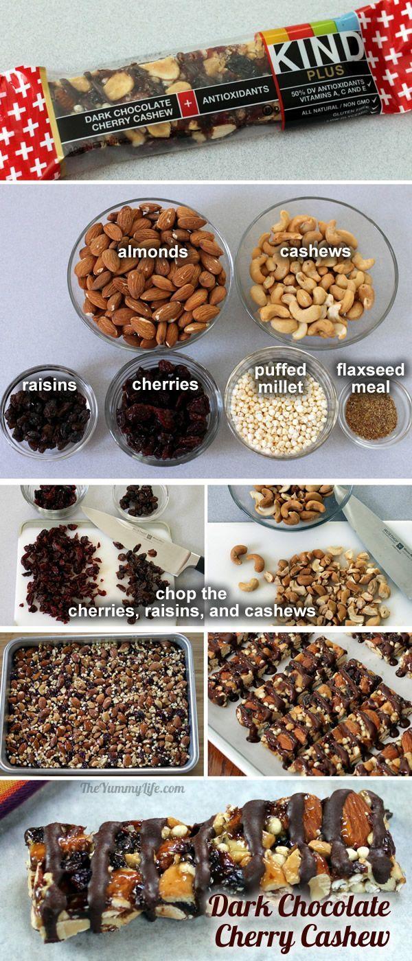 Dark Chocolate Cherry Cashew KIND bar--copycat recipe from TheYummyLife.com