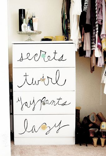 Love this idea for a closet chest of drawers...    from Ms. Kara by jamie meares, via Flickr