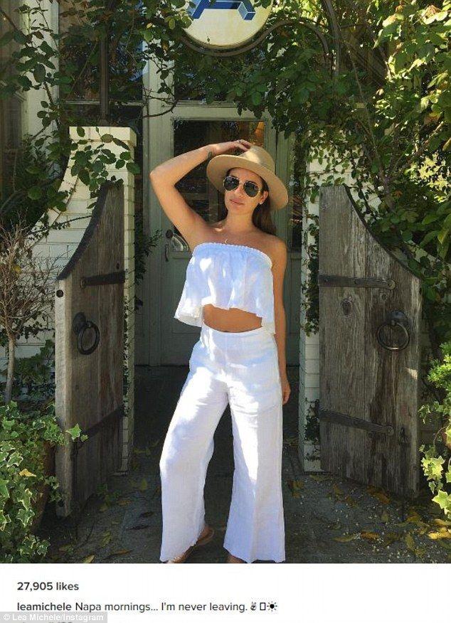 Lea Michele showcases toned midriff after enjoying weekend wine tour #dailymail