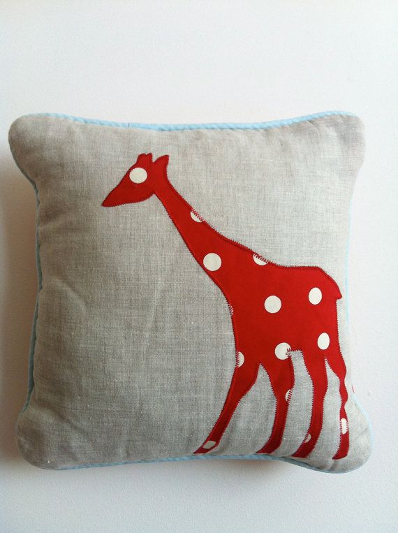 Natural Linen Animals Cushion  Red Giraffe by TreefallDesign, $28.00  Thinking Sarah, Pat's daughter