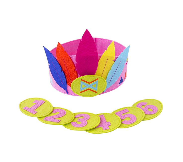 Vilten kroon Girl - Deze kroon gemaakt van vilt is een perfect kindercadeautje via de post! Met de los bijgeleverde getallen is deze geschikt voor verjaardag van 1 t/m 6 jaar oud!