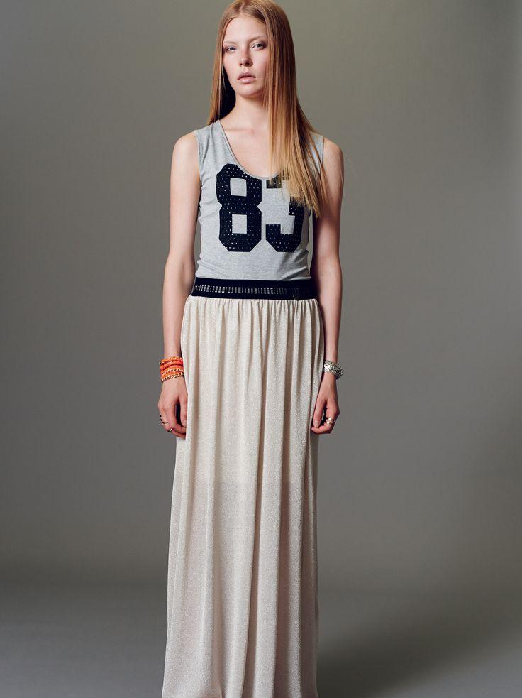 Naughty Dog SS15 viscose jersey body and long lurex viscose skirt.
