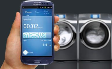 Samsung Ecosystem expand to Smart's Washer and Dryer... they can now communicate with smart phones.    Whats next? the ability of activating a live view camera in your refrigerator? cool. Do I need more milk?