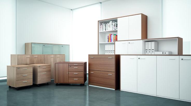 Stijlvolle kantoorkasten met een hout look.