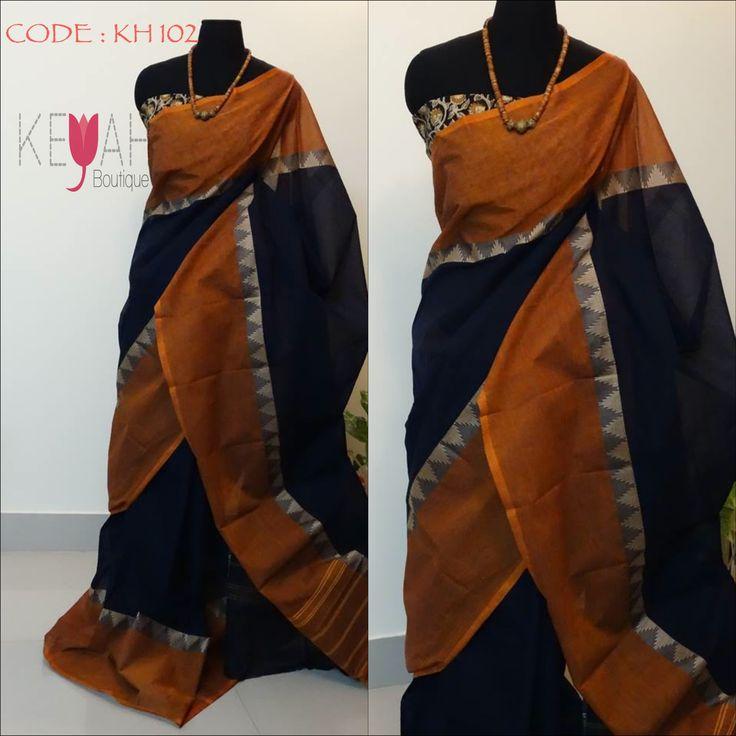 Traditional Chettinad cotton handloom Saree with mangalgiri blouse | Keyah Boutique
