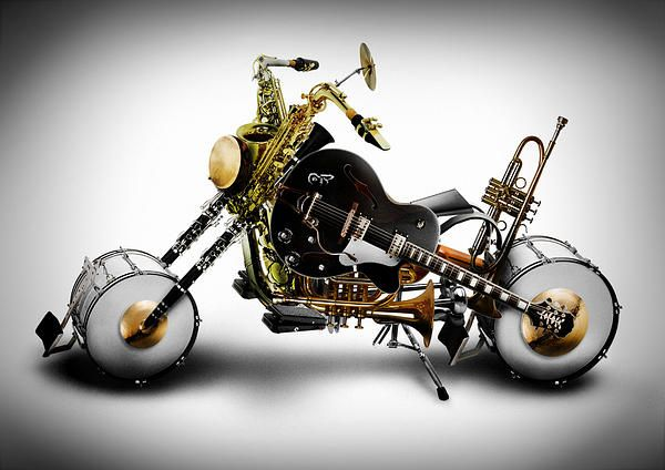 Custom Band ll - digital art by Alessandro Della Pietra. Check out how cool this is, creating a motorcycle out of instruments!! Awesome. What a great marriage....