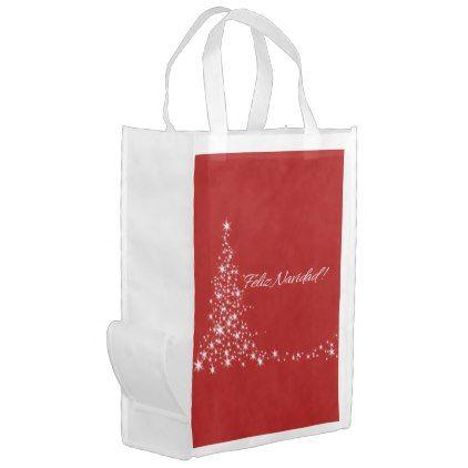 #Árbol de Feliz Navidad Rojo Reusable Grocery Bag - #Xmas #ChristmasEve Christmas Eve #Christmas #merry #xmas #family #kids #gifts #holidays #Santa