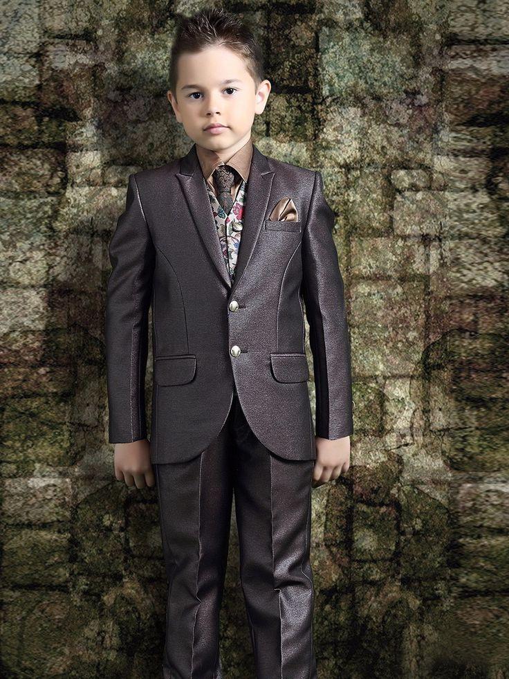 Антрацитовый костюм-тройка (с жилетом)   рубашка с галстуком для мальчика от 2 до 1 4 лет