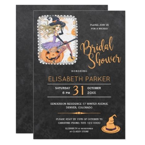 1739 best halloween cards invites and gifts images on pinterest halloween witch and pumpkin bridal shower party card stopboris Images