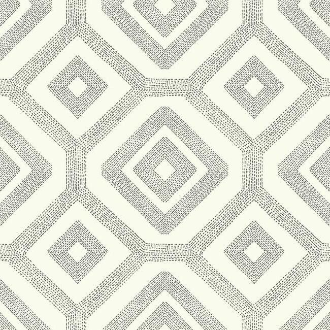 French Knot Wallpaper in Grey and White design by Carey Lind for York Wallcoverings - for dining room
