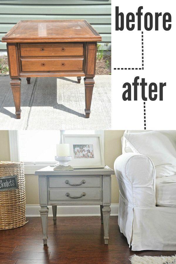 Mountain smoke end tables - A makeover & beautiful living room! lizmarieblog.com