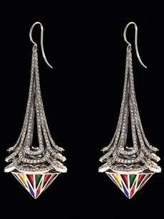The new collection from Solange Azagury-Partridge jewelry, 'Stoned' - Art Deco Chandelier Earrings