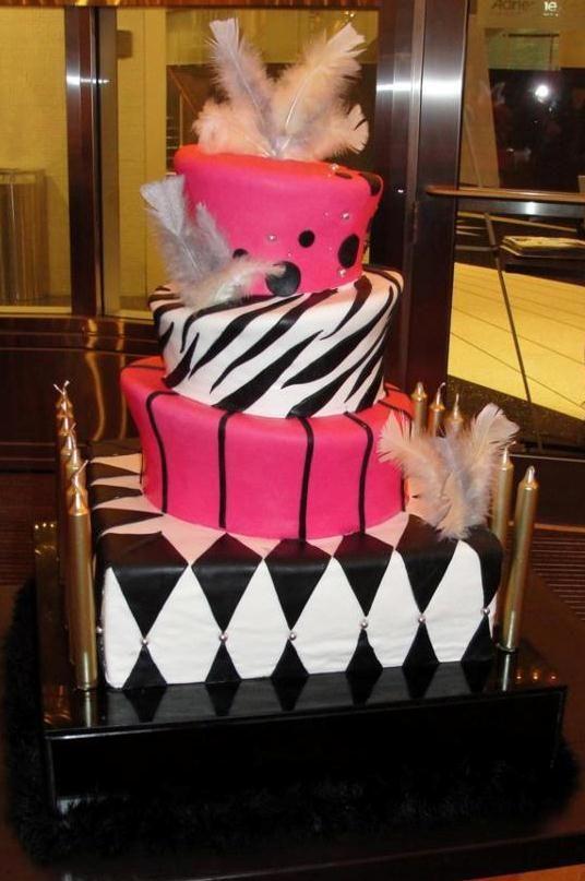 hot pink, black and white zebra bat mitzvah cake