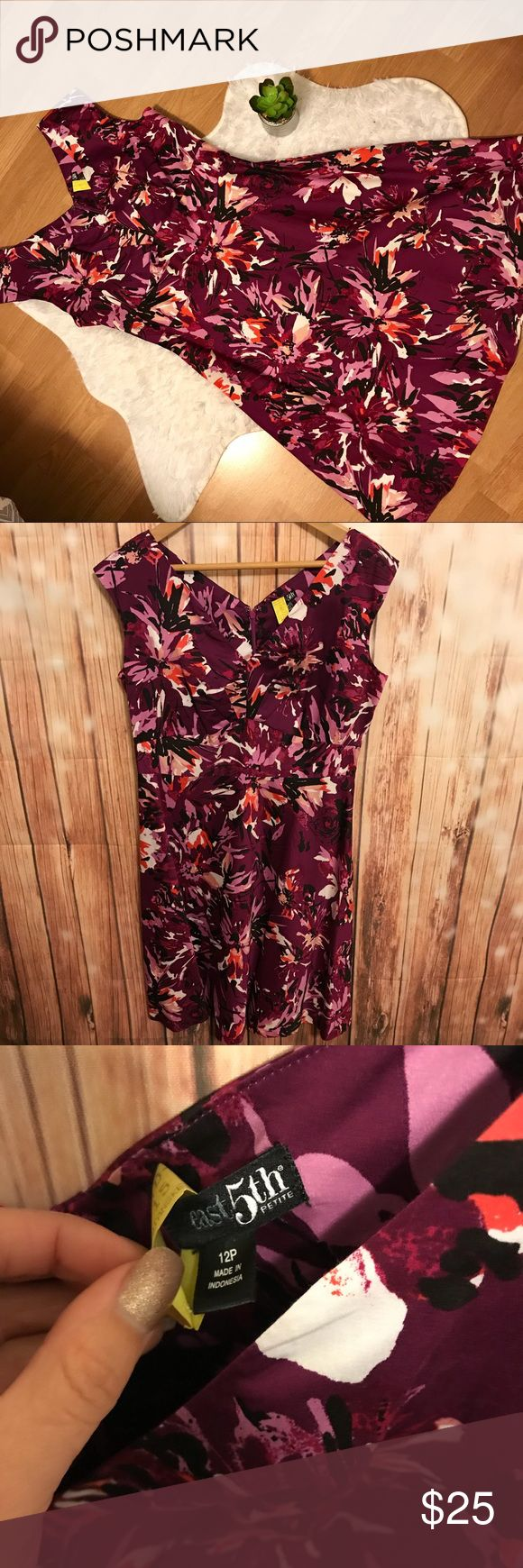 Floral East 5th Petite Dress Beautiful Dress! Purple floral design, flattering v neck cut. Perfect for weddings, showers, tea parties and more! Worn once to a wedding and dry cleaned after. Perfect condition. Smoke free home. East 5th Dresses