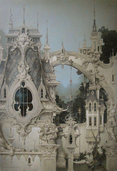 'Built on Dreams Alone' (2011) by artist Daniel Merriam (b.1963). Acrylic on panel, 36 x 24 in. source: afa. via the artist's site