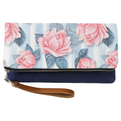 Roses on blue clutch - accessories accessory gift idea stylish unique custom